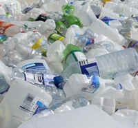 recycled plastic milk and water bottles
